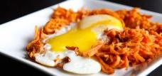 Sweet potato hash with runny eggs